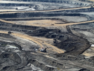 Fossil fuel strip mining of beautiful land